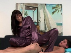 Satin clad slut cumshot